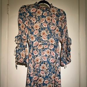 Blue Floral Bell Sleeve Dress